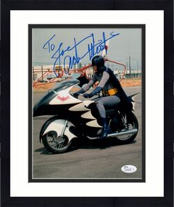 ADAM WEST HAND SIGNED 8x10 PHOTO     AWESOME POSE AS BATMAN       TO JOE     JSA