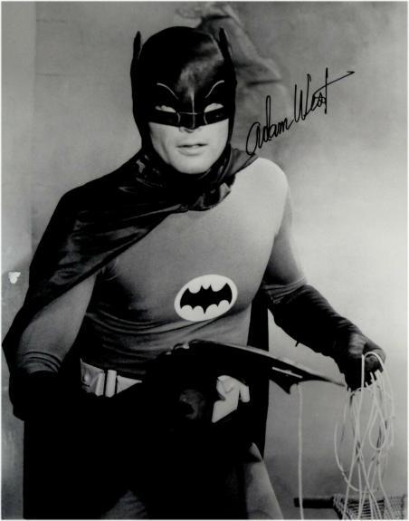 Adam West Hand Signed Autographed 16x20 Photo Batman Holding Batarang Gun JSA