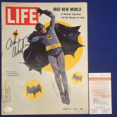 Adam West Signed 1966 Life Magazine Mad New World of Batman Superman JSA