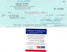 Adam West Signed Authentic Autographed Cancelled Check PSA/DNA #P57268