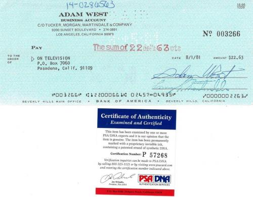 Adam West Signed Authentic Autographed Cancelled Check PSA/DNA #P57268