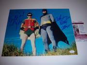 Adam West,burt Ward Batman Deceased Jsa/coa Signed 11x14 Photo