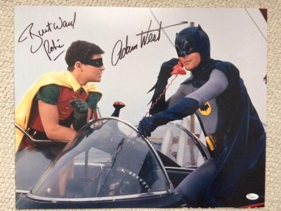ADAM WEST+BURT WARD HAND SIGNED 16x20 PHOTO+COA     BATMAN+ROBIN   JSA CERTIFIED