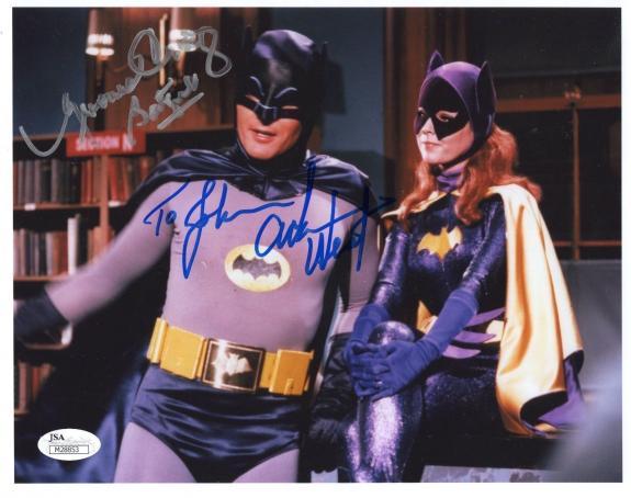 ADAM WEST+YVONNE CRAIG SIGNED 8x10 PHOTO      BATMAN+BATGIRL     TO JOHN     JSA