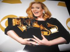 ADELE SIGNED AUTOGRAPH 11x14 PHOTO HELLO GRAMMYS TROPHY SHOT IN PERSON COA AUTO