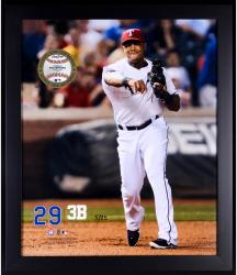 "Adrian Beltre Texas Rangers Framed 20"" x 24"" Gamebreaker Photograph with Game-Used Ball"