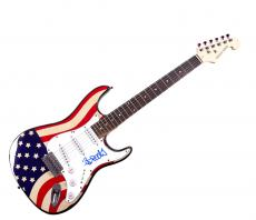 Adrock Autographed Beastie Boys Signed U.S.A. Flag Guitar Exact Proof