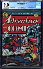 Adventure Comics #72 Cgc 9.0 Oww 1st Simon & Kirby Artwork Cgc #1205115002