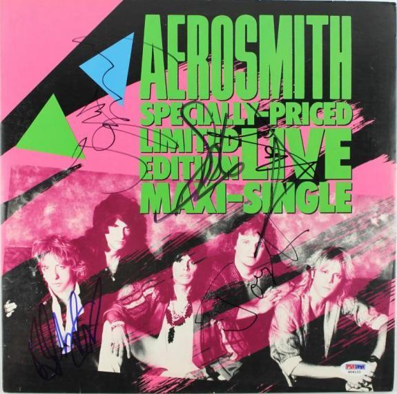 Aerosmith (5) Tyler, Perry, Kramer +2 Signed Album Cover W/ Vinyl PSA #S04122