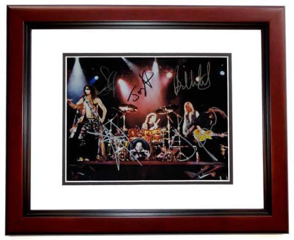 Aerosmith 11x14 MAHOGANY CUSTOM FRAME by Steven Tyler Tom Hamilton Joey Kramer Brad Whitford