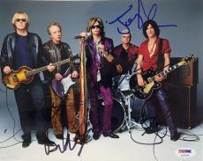 Aerosmith Band (5) Signed 8x10 Photo Steven Tyler, Joe Perry +3 PSA #AC02156