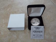 Aerosmith Band Issued Route Of All Evil Tour Medallion Coin Silver Overlay MIB