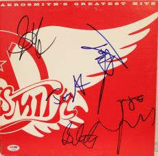 "AEROSMITH Band Steven Tyler +4 Signed ""GREATEST HITS"" Album LP PSA/DNA #AB04894"