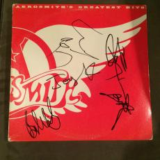 Aerosmith Complete Band Signed Greatest Hits Vinyl Lp Record Album Flawless!