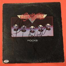 Aerosmith Complete Band Signed Rocks Vinyl Lp Record Album PSA/DNA COA