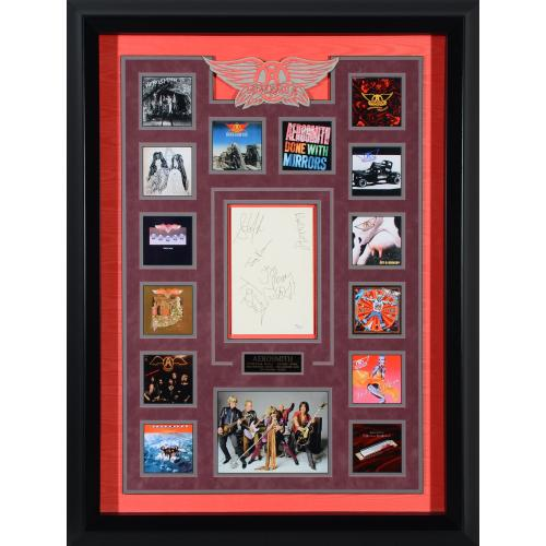 "Aerosmith Framed Autographed 39"" x 29"" Collage with 5 Signatures - JSA"