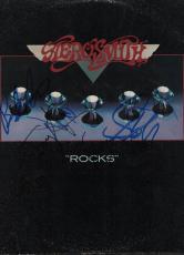 Aerosmith Full Band Autographed Signed Rocks Album Cover PSA AFTAL