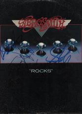 Aerosmith Full Band Autographed Signed Rocks Album Cover PSA AFTAL