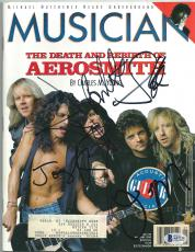 AEROSMITH GROUP signed autographed MAGAZINE BECKETT LOA! STEVEN TYLER JOE PERRY
