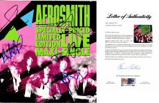 Aerosmith Signed - Autographed Live Maxi Single LP Record Album Cover with PSA/DNA FULL Letter of Authenticity - Complete Group by Steven Tyler, Tom Hamilton, Joey Kramer, Brad Whitford, and Joe Perry