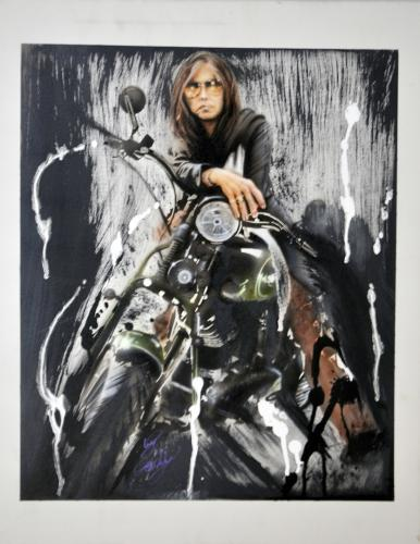 Aerosmith Steven Tyler Hand Painted Canvas Custom Motorcycle Painting Unsigned