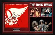 Aerosmith Steven Tyler Joe Perry Signed Toxic Twins Greatest Hits Album Display