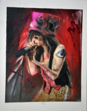 Aerosmith Steven Tyler Signed 22x28 Canvas Custom Painting Exact Proof