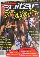 AEROSMITH w/ Steven Tyler Joe Perry + GROUP Signed Autographed Guitar MAGAZINE