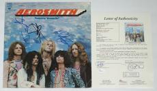 Aerosmith X5 Steven Tyler Joe Perry Brad Tom & Joey Signed Debut Record Jsa