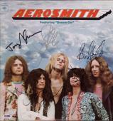 Aerosmith X5 Steven Tyler Joe Perry Brad Tom & Joey Signed Debut Record Psa Loa
