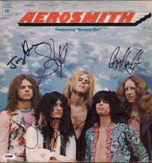 "Aerosmith X5 Steven Tyler Joe Perry Brad Tom & Joey Signed ""dream On"" Record Psa"