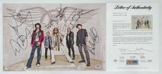 Aerosmith X5 Steven Tyler Joe Perry Joey Kramer Brad & Tom Signed 11x17 Psa Loa