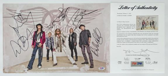 Aerosmith X5 Steven Tyler Joe Perry Joey Kramer Brad & Tom Signed 11x17 Psa Loa