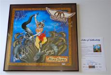 Aerosmith X5 Steven Tyler Joe Perry Tom Brad & Joey Signed Nine Lives Poster Psa