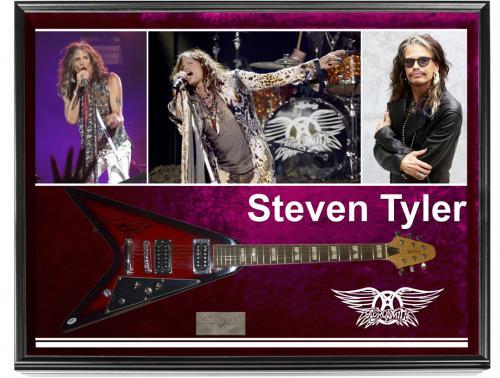 Aersmith Steven Tyler Signed Flying V Guitar + Display Case & Video Proof