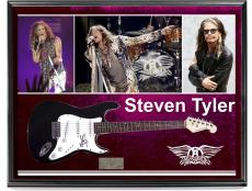 Aersmith Steven Tyler Signed Guitar + Display Shadowbox Case & Video Proof