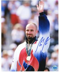 "Andre Agassi Autographed 8"" x 10"" 1996 Olympics Arm in Air Photograph"