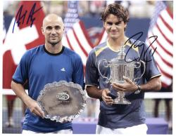 """Andre Agassi & Roger Federer Dual Autographed 8"""" x 10"""" Trophy Photograph"""