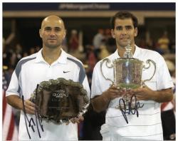 "Andre Agassi & Pete Sampras Dual Autographed 8"" x 10"" 2002 US Open Photograph"