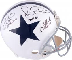 Troy Aikman, Michael Irvin, & Emmitt Smith Dallas Cowboys Autographed Riddell Pro-Line Authentic Throwback Helmet with Multiple HOF Inscriptions