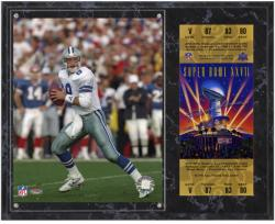 Dallas Cowboys Super Bowl XXVII Troy Aikman Plaque with Replica Ticket
