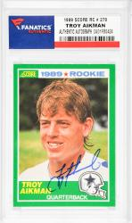 Troy Aikman Dallas Cowboys Autographed 1989 Score #270 Rookie Card  - Mounted Memories