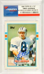 Troy Aikman Dallas Cowboys Autographed 1989 Topps Rookie #70T Card - Mounted Memories