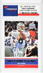 Troy Aikman Dallas Cowboys Autographed 2011 Topps SB #XXVII Card  - Mounted Memories  - Mounted Memories