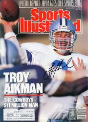 Troy Aikman Dallas Cowboys Autographed Sports Illustrated $11 Million Magazine - Mounted Memories