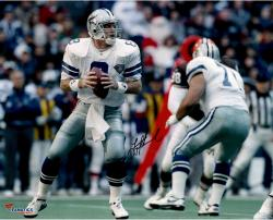 Troy Aikman Dallas Cowboys Autographed 16'' x 20'' White Uniform Passing Photograph - Mounted Memories