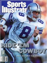 Troy Aikman Dallas Cowboys Autographed Sports Illustrated Ride Cowboy Magazine - Mounted Memories