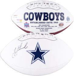 Troy Aikman Dallas Cowboys Autographed White Panel Football - Mounted Memories