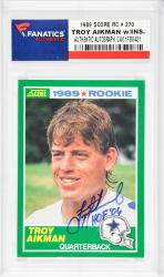Troy Aikman Dallas Cowboys Autographed 1989 Score #270 Rookie Card with HOF 06 Inscription - Mounted Memories