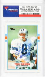 Troy Aikman Dallas Cowboys Autographed 1989 Topps #70T Rookie Card with HOF 06 Inscription - Mounted Memories